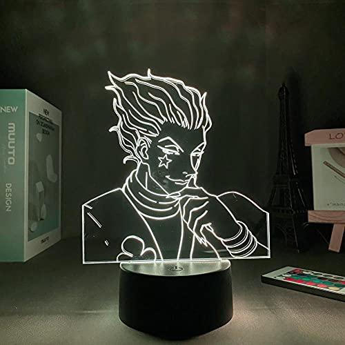 Lámpara de ilusión 3D Mood Led Luz de noche Figura D Anime Hunter × Hunter Manga Hisoka Día de San Valentín para habitación-Base negra_con control remoto