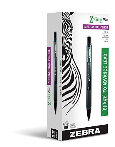 Zebra Z-Grip Plus Mechanical Pencil, 0.7mm, Black Barrel, 12-Count