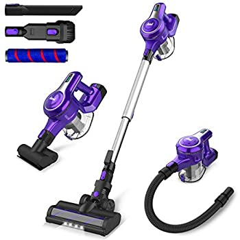 Cordless Vacuum Cleaner 23Kpa 250W Brushless Motor Stick Vacume Up to 45 Mins Max Runtime 2500mAh Rechargeable Battery 5-in-1 Lightweight Handheld for Carpet Hard Floor Car Pet Hair Violet-INSE S6