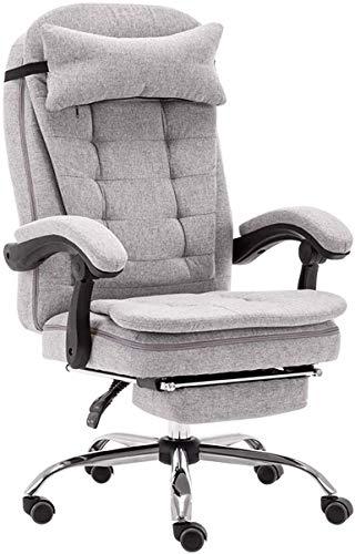 Grijs bureaustoel met hoge rugleuning en voetensteun kantelfunctie directie-swivel computer stoel linnenweefsel