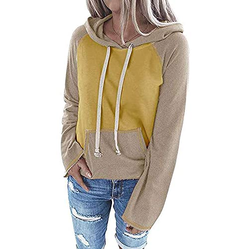 feftops Sudadera Mujer sin Capucha Camisas Mujer Invierno Bloque Color Manga Larga Tops Bolsillo Jersey Cordón Suave Casual Camisa Otoño Tops Bolsillo Deportes