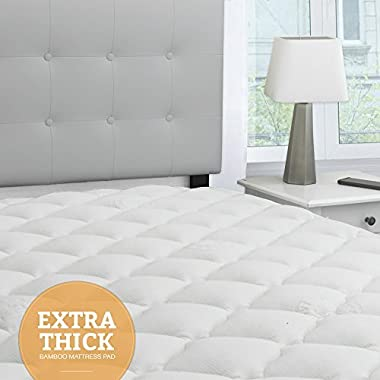 eLuxurySupply Bamboo Extra Thick Mattress Pad with Fitted Skirt - Extra Plush Cooling Topper - Hypoallergenic - Proudly Made in the USA, Queen