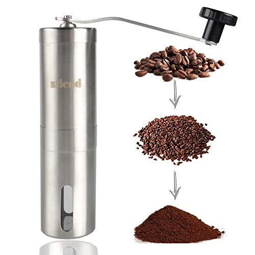 S-Tang Manual Coffee Grinder with Adjustable Setting - Conical Burr Mill & Brushed Stainless Steel...