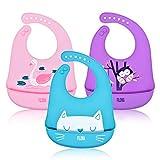 3er Pack Baby Lätzchen Silikon Wasserdichte, Silikon-lätzchen Babylätzchen mit Auffangschale Pink Unisex Entwöhnen BPA Frei,Abwaschbar Verstellbare Einfache Reinigung Weihnachten Babyparty Geschenk