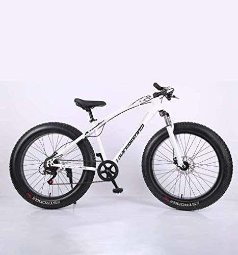 ZTBXQ Fitness Sports Outdoors Fat Tire Adult Mountain Bike High-Carbon Steel Frame Cruiser Bikes Beach Snowmobile Bicycle Double Disc Brake 26 Inch Wheels