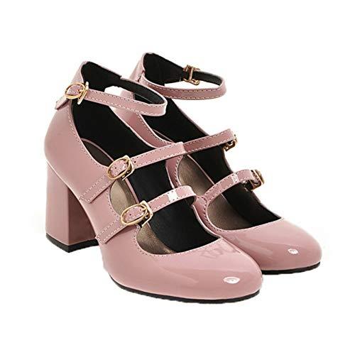 Damen Kleid Schuhe Stylish Shallow Mouth Knöchelriemen High Heels Elegante Pu Leder Pumps Block Heel Mary Jane Schuhe