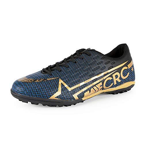 Botas de fútbol Hombre Niños Zapatos de fútbol Hombre equilibrado 37 TF Negro-Oro