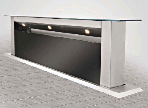 Silverline (sans moteur) Apollo APT 914 S Table Cagoule/90 cm/inox/verre noir