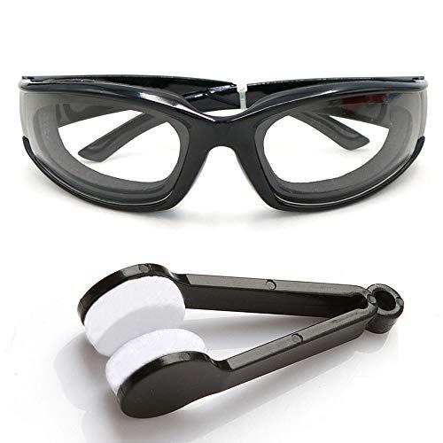 Amaoma Zwiebel Schutzbrille Küche Schutzbrille Zwiebelbrille Winddichte Staubdicht Reizung Tränen Sonnenbrille Brille Augen Protector für Haus und Küche Einsatz Mit Reinigungsbürsten(Schwarz)