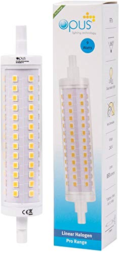 Opus - Bombilla LED R7S 9W J118 forrada (3000 K, 118 mm), color blanco cálido