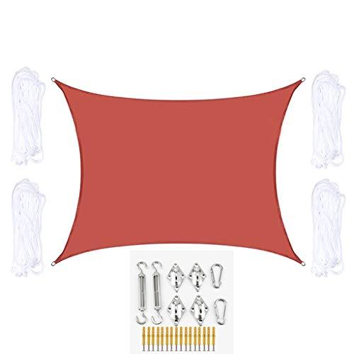 Toldo Vela de Sombra Rectángulo Sombra Sombra Vela con Kit de fijación Impermeable Transpirable Toldo Solar Toldo Tabla UV Bloque Al Aire Libre Protección Solar (Color : Red, Size : 5m x 7m)