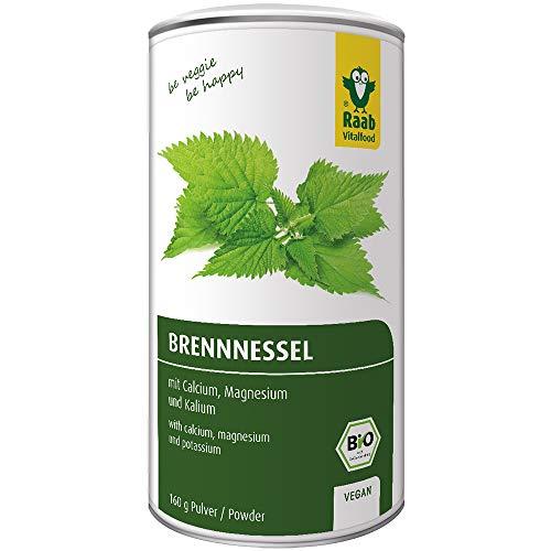 Raab Vitalfood Bio Brennnessel-Pulver mit natürlichem Calcium, Magnesium und Kalium, laborgeprüft, für Smoothies und Müsli, 160 g