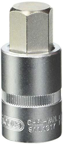 KS Tools 911.1317 - Llave de vaso para tornillos con interior hexagonal (17 mm, 1/2', corta)