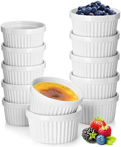 12 Pack Porcelain Souffle Dish Ramekins for Baking 6 Ounce x 6 8 Ounnce x 6 White Ramekins Bakeware product image