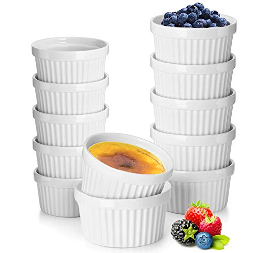12 Pack Porcelain Souffle Dish Ramekins for Baking – 6 Ounce x 6, 8 Ounnce x 6 - White Ramekins Bakeware Set Baking Cups for Creme Brulee Desserts Puddings Custard Ice Cream Lava Cake Snacks