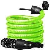 SPGOOD - Lucchetto a catena per bicicletta, resistente, 1800 mm/12 mm, 8 colori, con codice a 5 cifre, per bicicletta, moto, porta, cancello