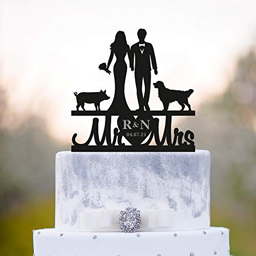 Custom wedding animal cake topper with golden retriever dog and pig,pig wedding couple dog bride and groome last name animal topper,a387