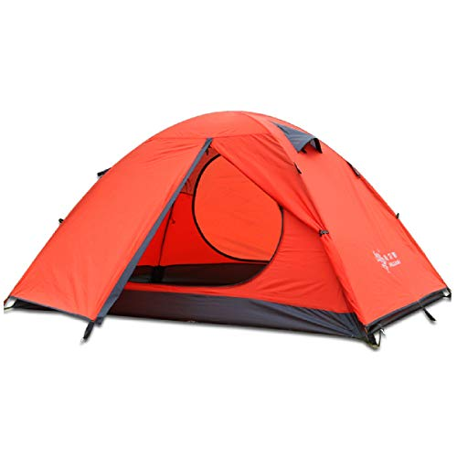 TRIWONDER 2-3 Person Tent for Camping Backpacking Travel, Lightweight Waterproof 3 Season Tent UV Protection with Carry Bag (Orange, 3 Person)