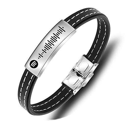 Pulseras de cuero para hombre, pulsera personalizada con código de Spotify con música personalizada, pulsera desmontable con código de escaneo de Spotify grabado, cumpleaños para hombres y mujeres