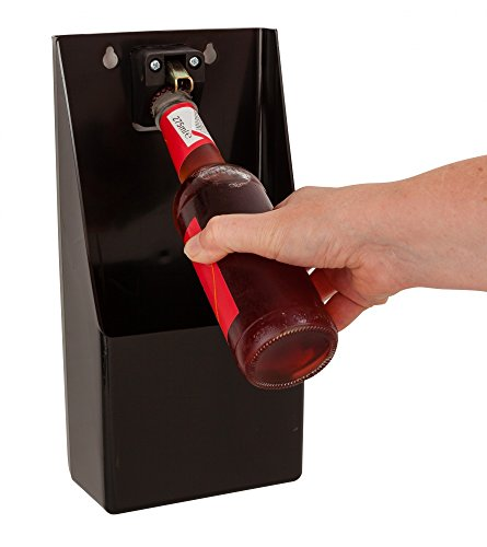 Beaumont Plastic TM Pub Bar Stand-Up/Wall Mounted Bottle Opener and Catcher, Black, 30cm x 15.2cm x 8.6cm