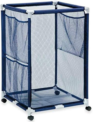 Palos Designs Modern Blue Pool Storage Bin - Large   Perfect Contemporary Nylon Mesh Basket Organizer For Your Goggles Beach Balls Floats Swim Toys and Accessories   Air Dry Items Quickly & Easily Roll The Mesh Storage Bins To Your Home Garage or Shed