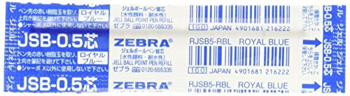 Zebra Sharbo X Refill 0.5 Ball Point Pen, Royal Blue Ink (RJSB5-RBL)