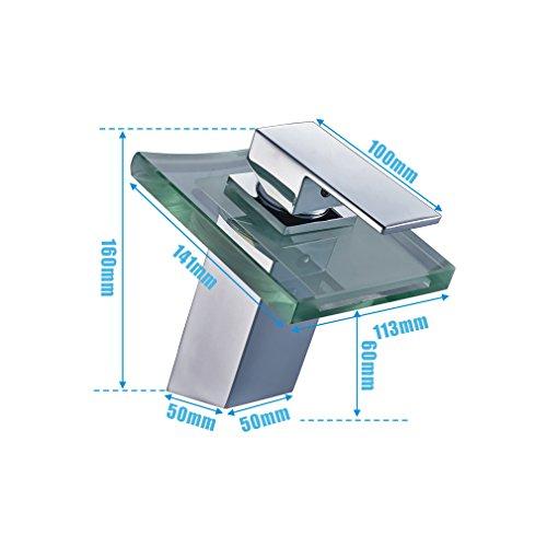 Auralum Wasserhahn Mit Chrom Glas RGB LED Licht Temperatur Waschtisch Wasserfall Armatur - 2