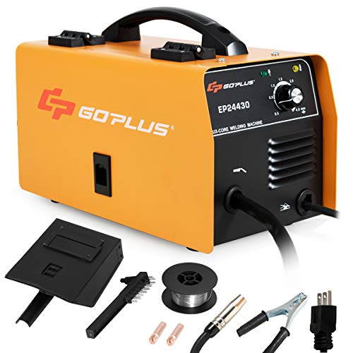 Goplus No Gas 130 MIG Welder, IGBT Inverter Automatic Feed Flux Core Wire Welding Machine w/Free Mask and Portable Handle, Synergic Adjustment Function(Yellow)
