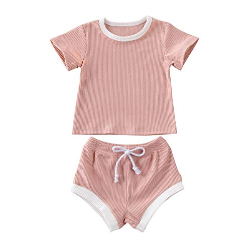 Newborn Infant Baby Girl Boy Clothes Short Sleeve Tops T-Shirt+Shorts Pants Solid Color Two Piece Outfits Set (Pink, 6-12M)