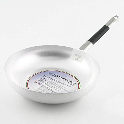 Pentole Agnelli Padella Alluminio 32 cm, Acciaio Inossidabile, Argento