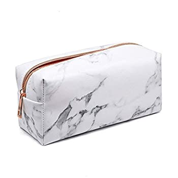 Mikey Store Marble Makeup Bag Organizer Portable PU Cosmetic Pouch Travel Brush Holder Pencil Storage Case for Women  7.5 x3.5 x2.8    Rose gold