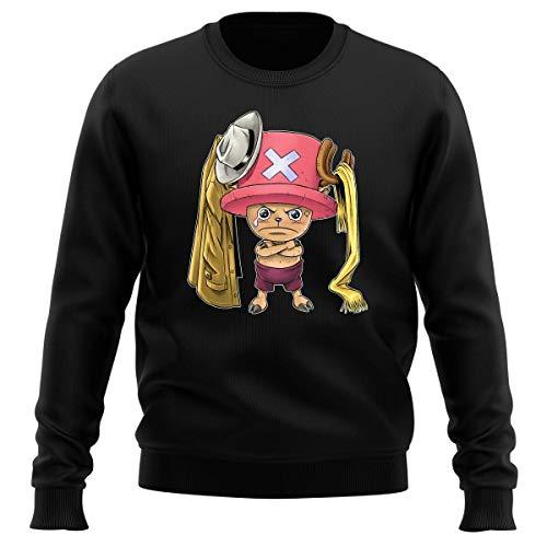 Pull Noir Parodie One Piece - Tony Tony Chopper - Etendage Pirate : (Sweatshirt de qualité Premium de Taille L - imprimé en France)