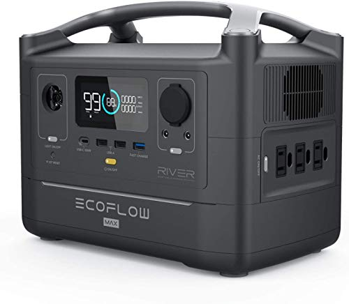 ECOFLOW Tragbares Kraftwerk RIVER600 Max, 576 Wh Backup Lithiumbatterie mit 2 600W Wechselstromsteckdosen und LED-Taschenlampe, sauberer und leiser Solargenerator für Outdoor-Camping-Wohnmobile