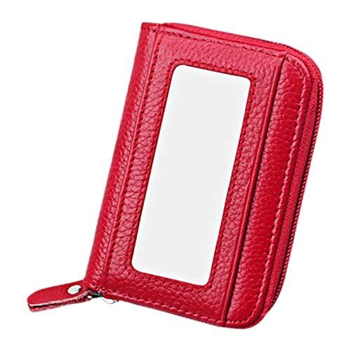 Soporte para tarjetas RFID, piel de vacuno auténtica, cierre de cremallera de color sólido, horizontal, bolsa de bloqueo para tarjetas, tamaño: 11,5 x 7,5 cm PingGongHuaKeJiYouXianGongSi (color: rojo)