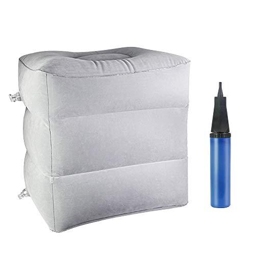 DECARETA Aufblasbare Fußstütze Kissen Höhenverstellbar Reisekissen mit 3 Schichten Tragbare Beinkissen für Flugzeug Auto Büro und Camping,Grau