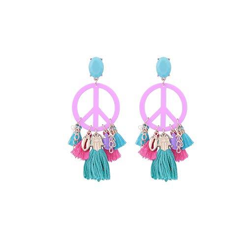 Feing - Orecchini a forma di nappa, a forma di grande pace, gioielli Oorbellen e NA, colore: rosa, cod. KPA7212