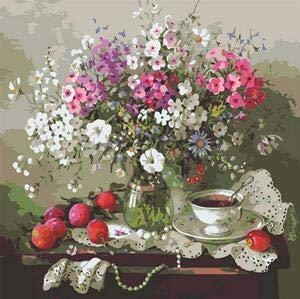 ZXDA Flor China DIY Pintura por números Kits para Colorear por números Arte de Pared decoración de Imagen para Sala de Estar Ilustraciones A6 40x50cm