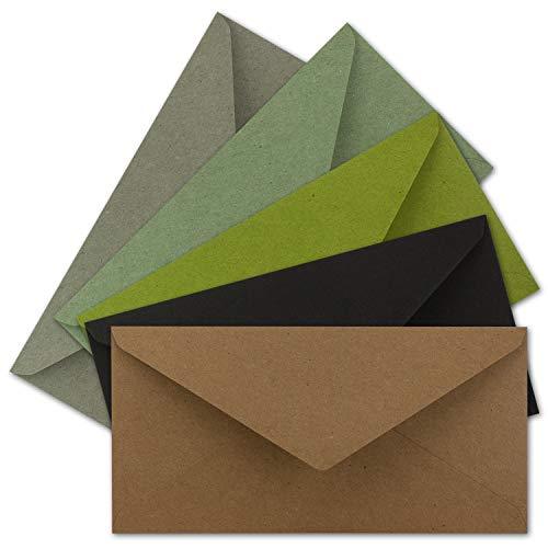 25x Brief-Umschläge Farbenmix-Paket DIN Lang - 110 x 220 mm (11 x 22 cm) - Nassklebung - Vintage Kraftpapier Natur-Papier Kuverts - Ideal für Einladungs-Karten