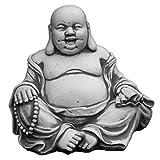 gartendekoparadies.de Massiver Stein Buddha lachende Mönch Gartendeko Raumdeko Steinguss frostfest