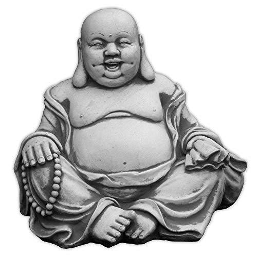 Massiver Stein Buddha lachende Mönch Gartendeko Raumdeko Steinguss frostfest