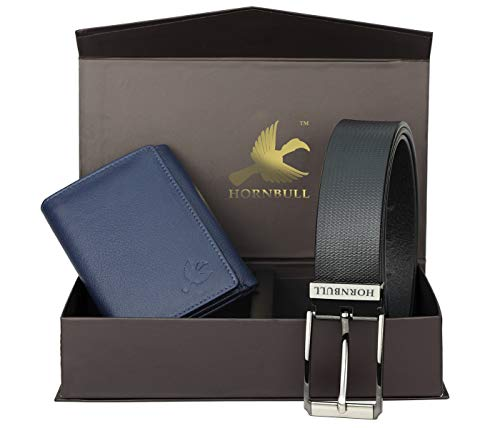 Hornbull Men's Blue Wallet and Black Belt Combo BW9397
