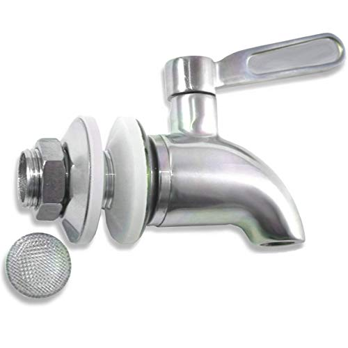 Beverage Dispenser Replacement Spigot with Screen Filter ?- Stainless Steel - Ice Tea, Kombucha, Lemonade - Also works with Ceramic Porcelain Crock and Berkey-type Water Filtration Systems