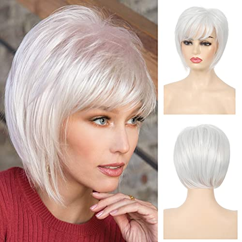 Baruisi Short White Wigs for Women Natural Straight Synthetic White Wig with Bangs Party Halloween Costume Cosplay Wig