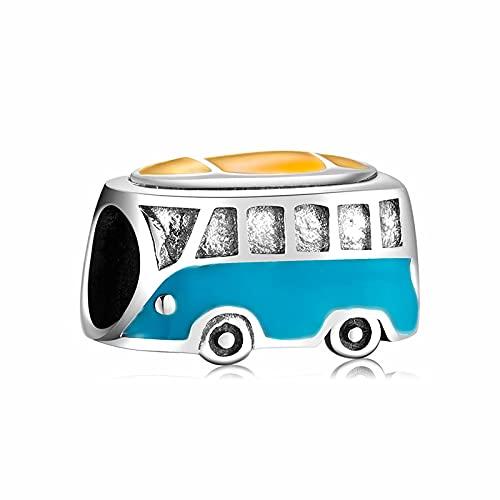 LISHOU Regalo para Mujer S925 Cuentas De Plata Esterlina Serie Creativa De Autobús De Coche Colgante De Cuentas Fit Pandora Fashion Girl Pulseras Collares Fabricación De Joyas De Bricolaje