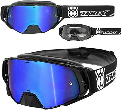 TWO-X Rocket Crossbrille schwarz Glas verspiegelt blau MX Brille Nasenschutz Motocross Enduro Spiegelglas Motorradbrille Anti Scratch MX Schutzbrille Nose Guard