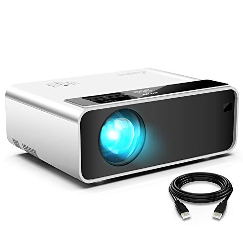 """Mini WiFi Projector for iPhone, ELEPHAS Movie Projector with 1080P HD Portable Projector Supported 200"""" Screen, Compatible with Android/iOS/HDMI/USB/SD/VGA[2021 Latest Version]"""
