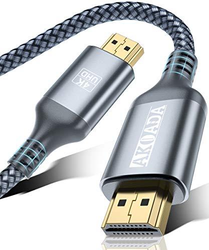 AkoaDa Cable HDMI 4K 6.6ft, Cable HDMI 2.0 de Nylon Trenzado de Alta Velocidad, Full HD 1080p, HDR, HDCP 2.2, 4K UHD 2160p, Apto para...