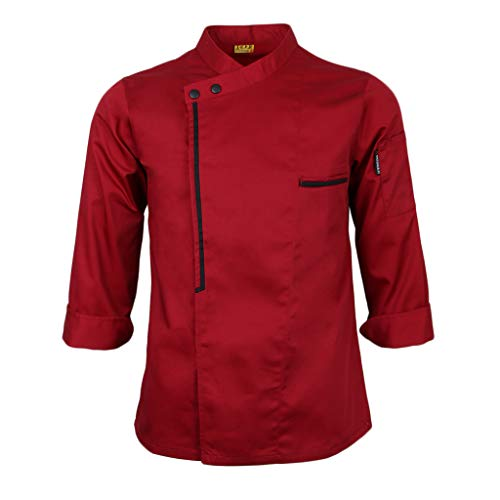 chiwanji Langarm Kochjacke Bäckerjacke Kochkleidung Gastronomie Jacke Hemd Gastronomiejacke Arbeitsjacke Chefkoch Berufsbekleidung - rot, L