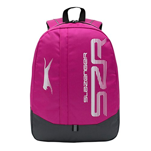 Slazenger Large Logo Back Pack Travel Luggage Everyday Casual Bag Accessories Pink/Charcoal One Size