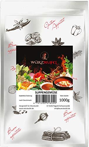 Suppengemüse Gemüse getrocknet, geschnitten 6x6mm Hergestellt in Deutschland. Beutel je 1000g. (1,0 KG)